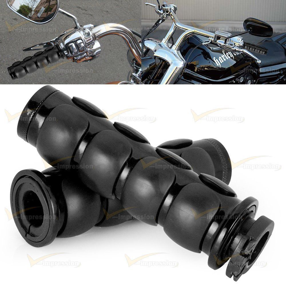 Black Iso Motorcycle Rubber Hand Grips 1 Throttle Handlebar Bar End For Harley Motorcycle Handle Bars Black Motorcycle Handlebar