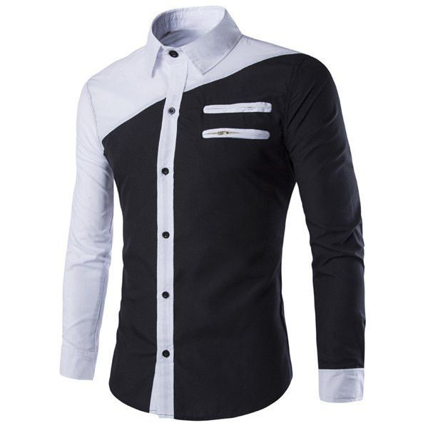 Color Block Slimming Shirt Collar Long Sleeves Cool Shirt For Men ...