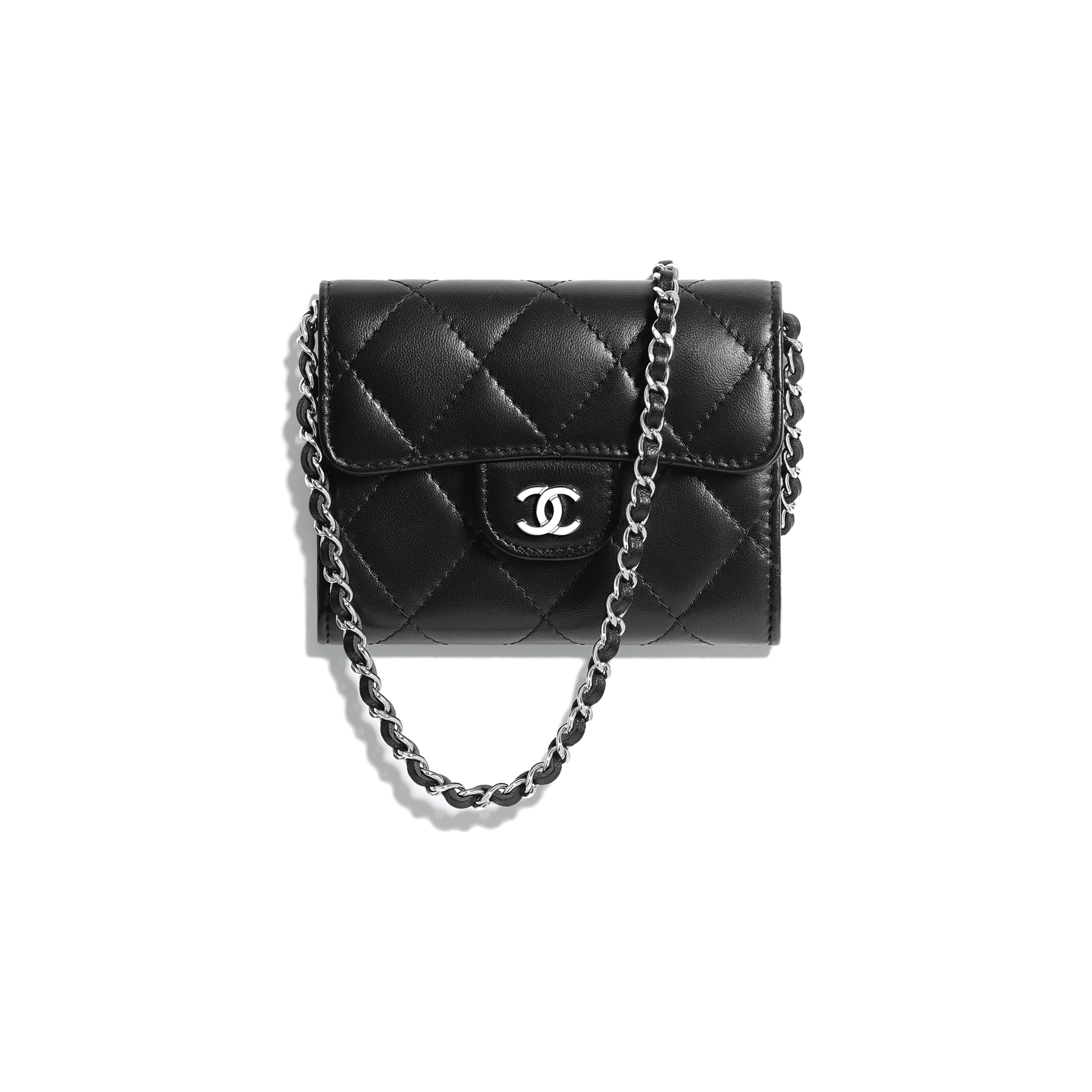 2388bb3fd059 Classic Clutch with Chain Lambskin   Silver-Tone Metal Black - view 1 - see  full sized version