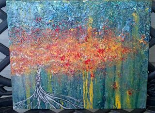 "Abstract tree...""When it rains Let your roots grow deep""  Original -acrylic painting"