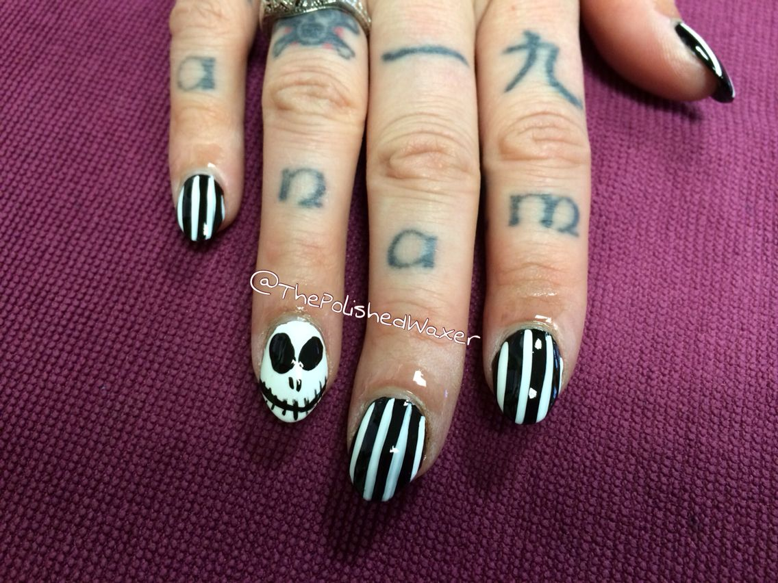 Jack from Nightmare before Christmas nails (acrylic not done by me ...