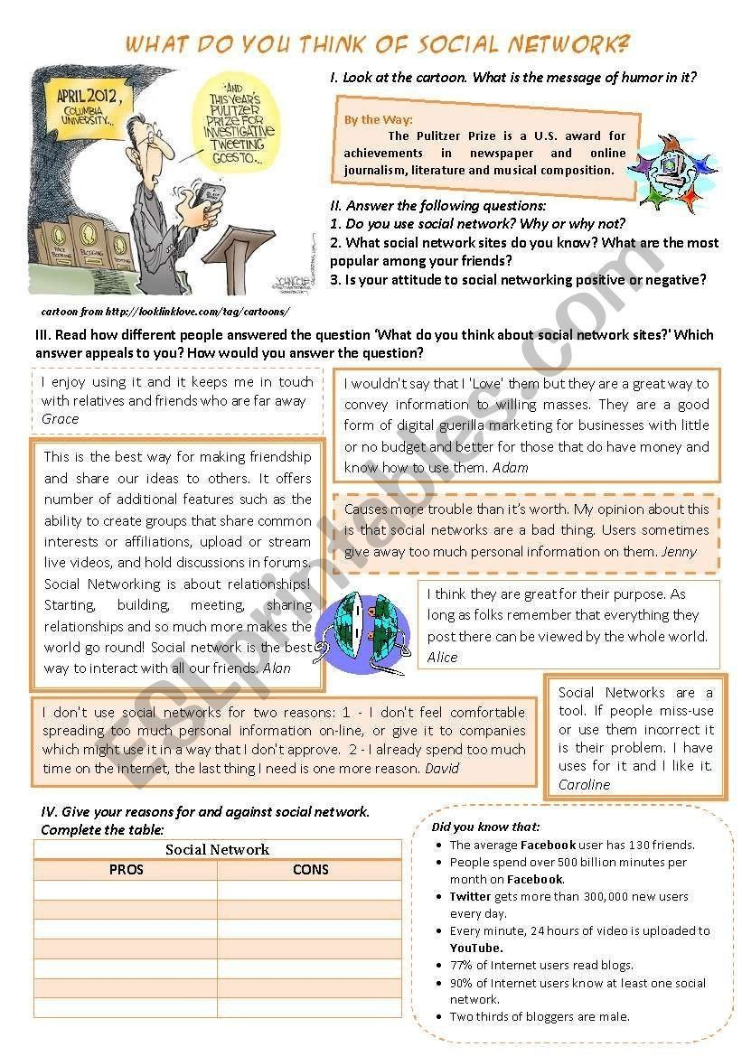 Catherine The Great Worksheet Social Network Pros And Cons Esl Worksheet By Catherine Kids Worksheets Printables Esl Worksheets Social Network