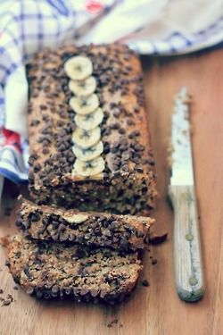 contented-soul:  dingyfeathers:  vegan—life:  Oatmeal Peanut Butter Chocolate Chip Banana Bread! Vegan and gluten free!   Omfg