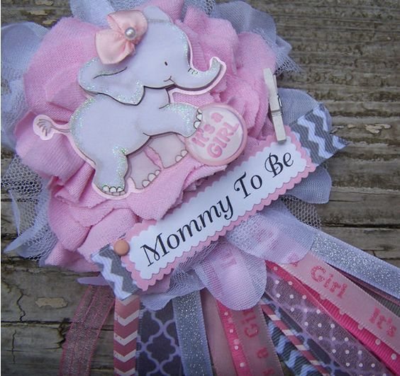 Gianna S Pink And Gray Elephant Nursery Reveal: Pink Elephant Mom To Be Corsage Pink And Gray By
