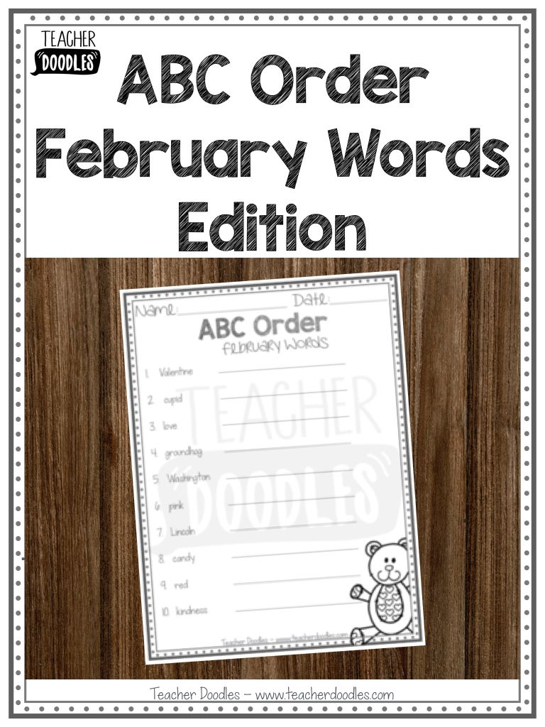 Abc Order February Words Abc Order Spelling Words Words [ 1024 x 768 Pixel ]