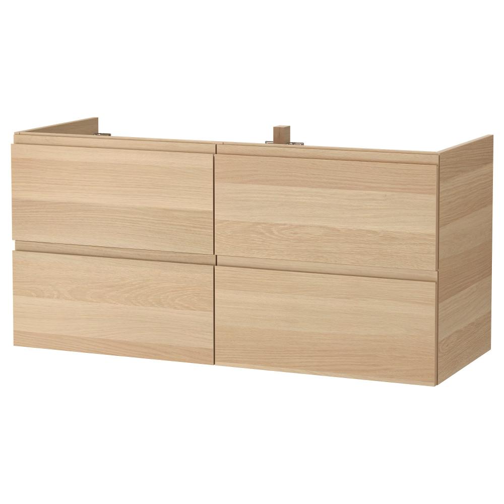 Godmorgon Szafka Pod Umywalke Z 4 Szufladami Dab Bejcowany Na Bialo 120x47x58 Cm Kup Online Lub W Sklepie Ikea Wash Stand Ikea Godmorgon Sink Cabinet