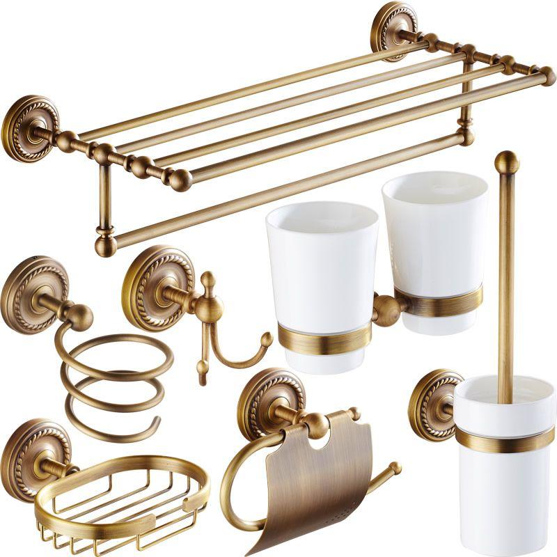 Antique Brass Bathroom Accessories Carved Bathroom Hardware Set ...