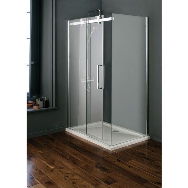 Technik Studio Slider Door Enclosure 1200mm X 800mm 582 00 Polished Silver Frame 8mm Safety Glass 20mm Ad Power Shower Slider Door Shower Tray