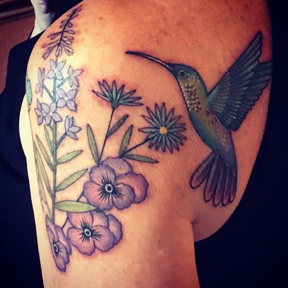 Hummingbird and pansies tattoo. Pansy tattoo, Flower tattoo