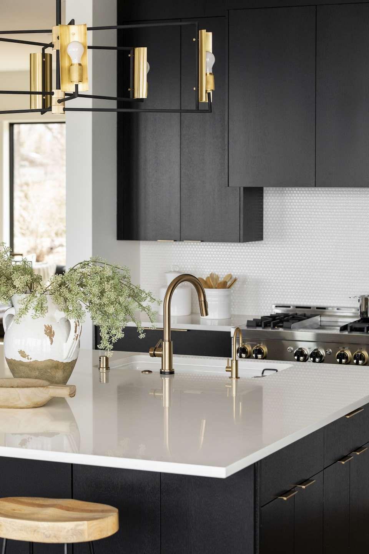 Inside A Stunningly Gorgeous Mountain Modern Home On Lake Minnetonka Modern Black Kitchen Modern Kitchen Design Interior Design Kitchen Modern black kitchen cabinets