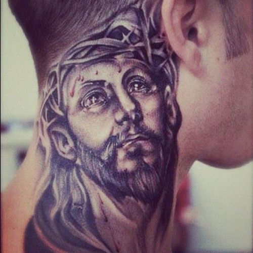 Jesus Tattooed On The Neck Jesus Tattoo Christ Tattoo Neck Tattoo