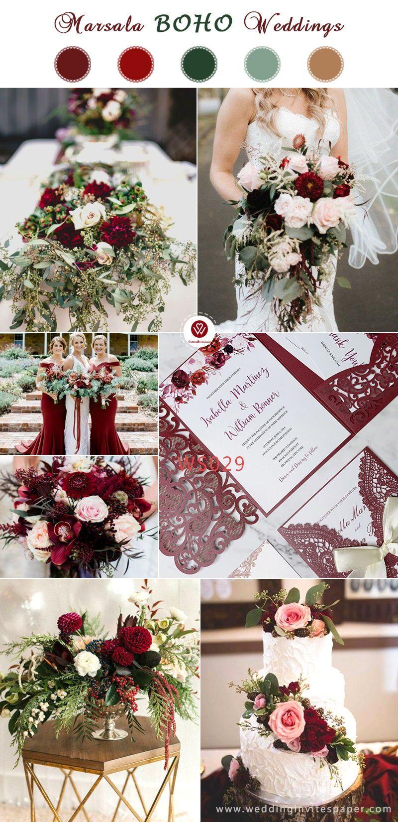2019 Trendiest Marsala/Burgundy Wedding Colorsboho