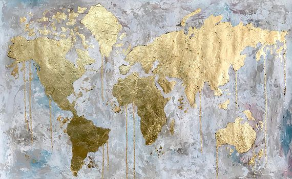 Original world map painting gold leaf abstract acrylic travel art original world map painting gold leaf abstract acrylic travel art modern wall art home decor handmade large painting niks paint gallery gumiabroncs Images