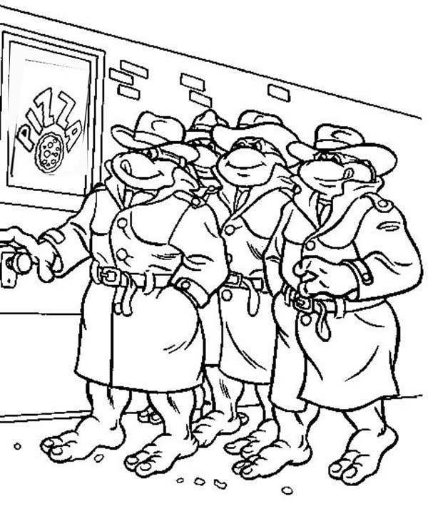 Teenage Mutant Ninja Turtles Gang Loved Pizza Coloring Page ...
