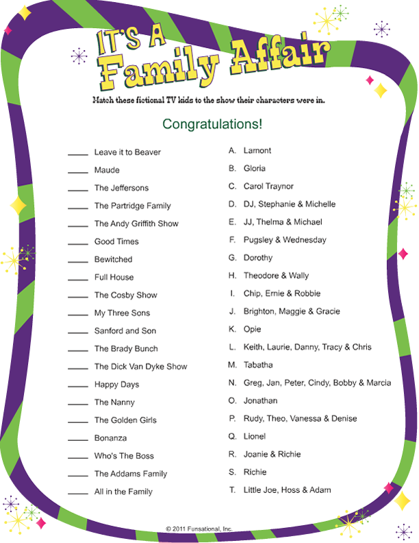 photograph about Printable Family Reunion Games identify Its A Household Affair Retro Printable Game titles Loved ones