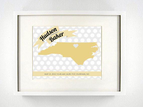 Custom North Carolina Birth Announcement 8x10 by PaintedPost, $19.00 ...