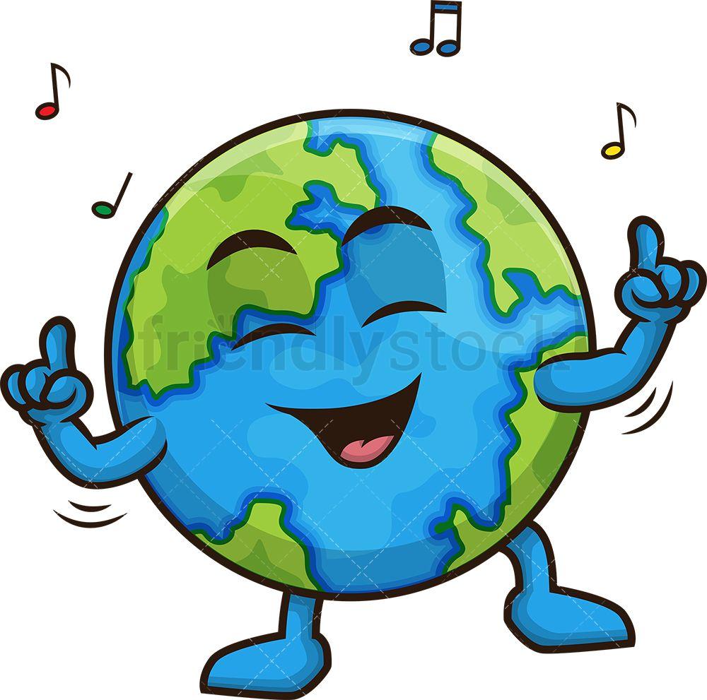 Earth Dancing Cartoon Clipart Vector Friendlystock Drawing Themes Cartoon Clip Art Earth Drawings