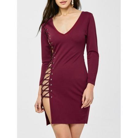 Side Lace Up V Neck Skinny Dress