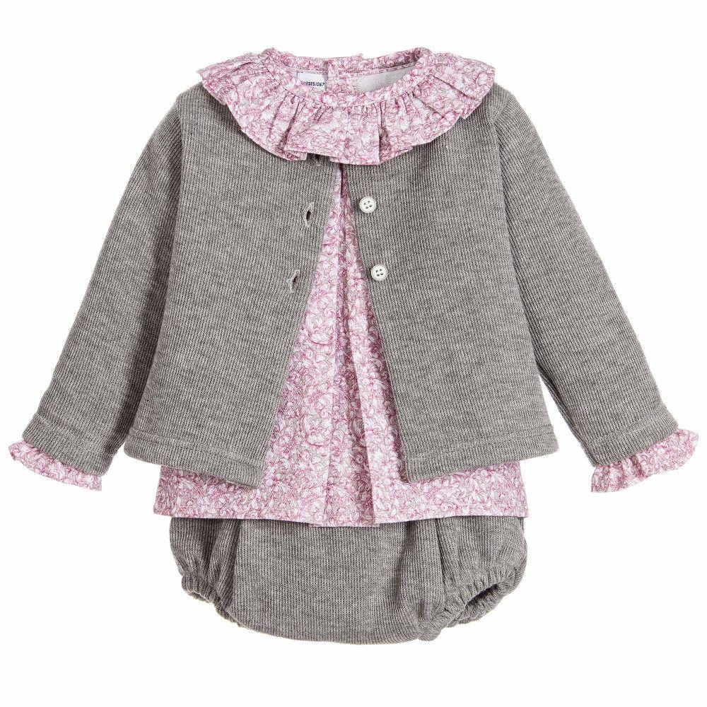 560739a6e Babidu Baby Girls Grey & Pink Cotton 3 Piece Shorts Set at Childrensalon.com