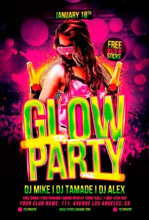 Glow Party Flyer Template | Awesome Flyer Templates | Pinterest ...