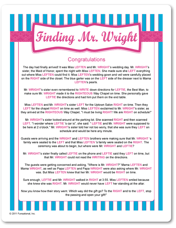 Printable Finding Mr Wright Blue Stripes Funsational