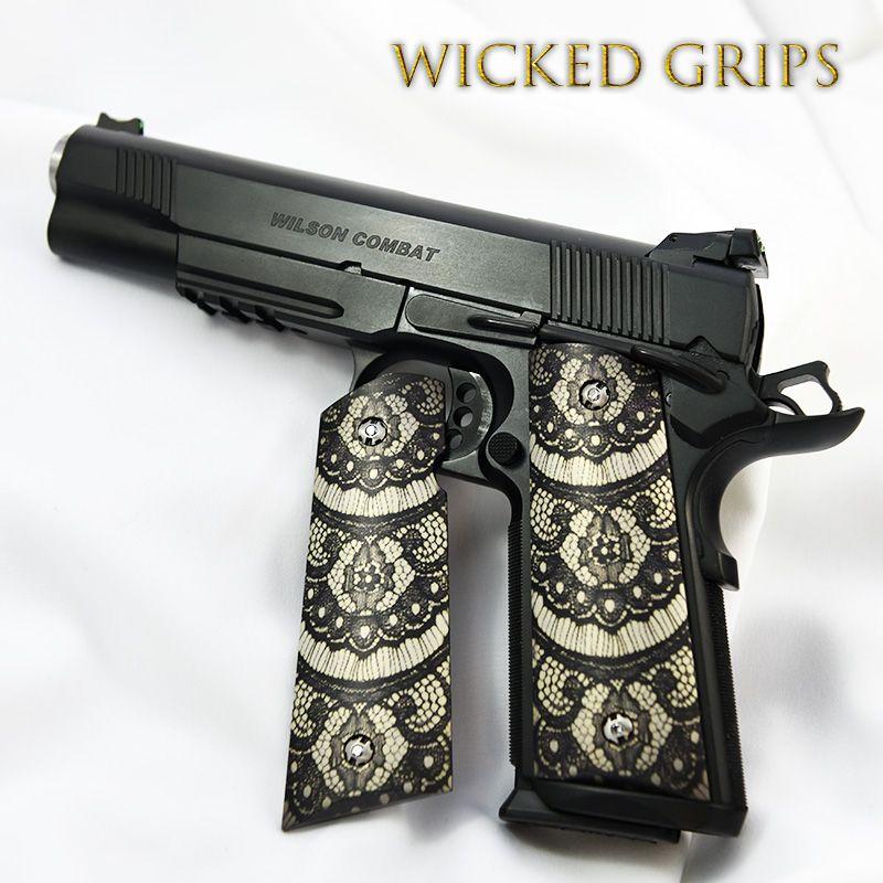 "Custom 1911 grips ""black lace""   Pinterest"
