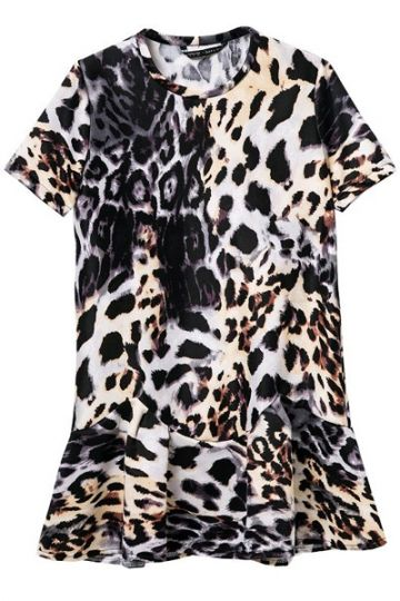 aaed15237973 Leopard Print Dress with Drop Peplum Hem Leopard Print Shorts