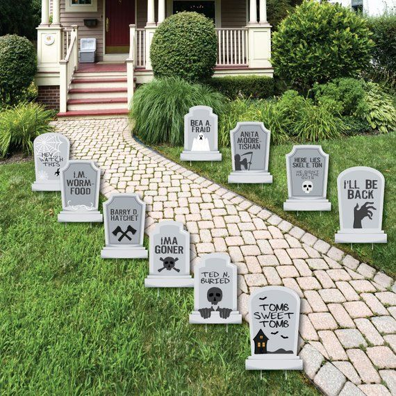 Funny Tombstones - Graveyard Tombstone Shaped Lawn Decorations