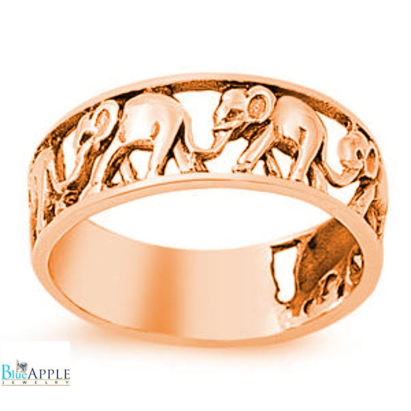 Pink Rose Gold Elephant Band Solid 925 Sterling Silver 7mm
