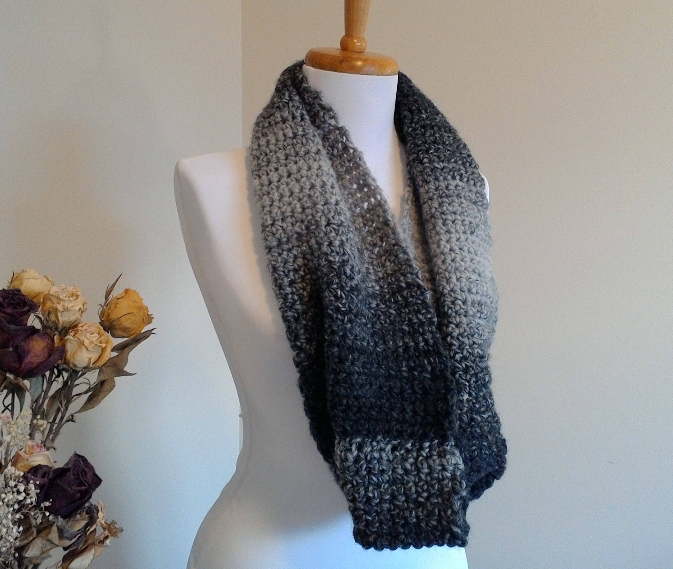 Chunky, soft, crocheted infinity scarf by BallAndHook on Etsy