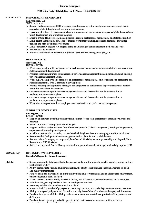 Hr Generalist Resume Samples Job Resume Samples Human Resources Resume Project Manager Resume