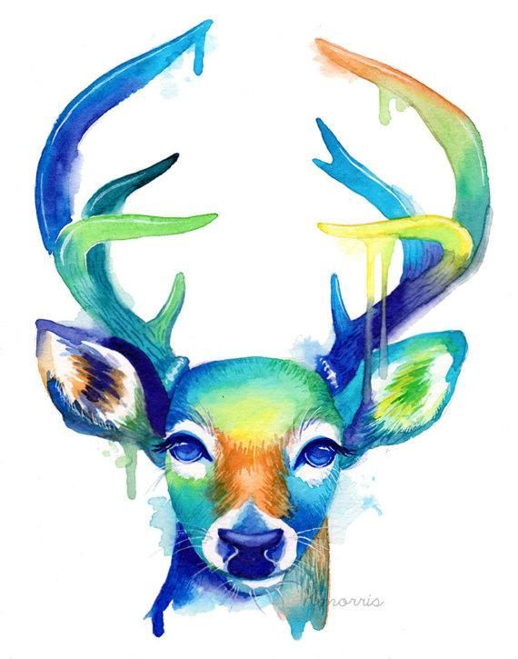 Colorful Doe and Blue Green Buck Duo Pack – Watercolor – Abstract – Art