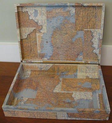 DIY Crafts Vintage Mod Podge Map Box Find The Antique Maps You - Antique map box