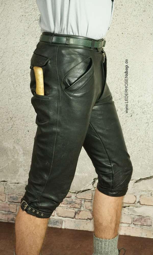 schöne Kniebundlederhose aus kräftigem, schwarzen