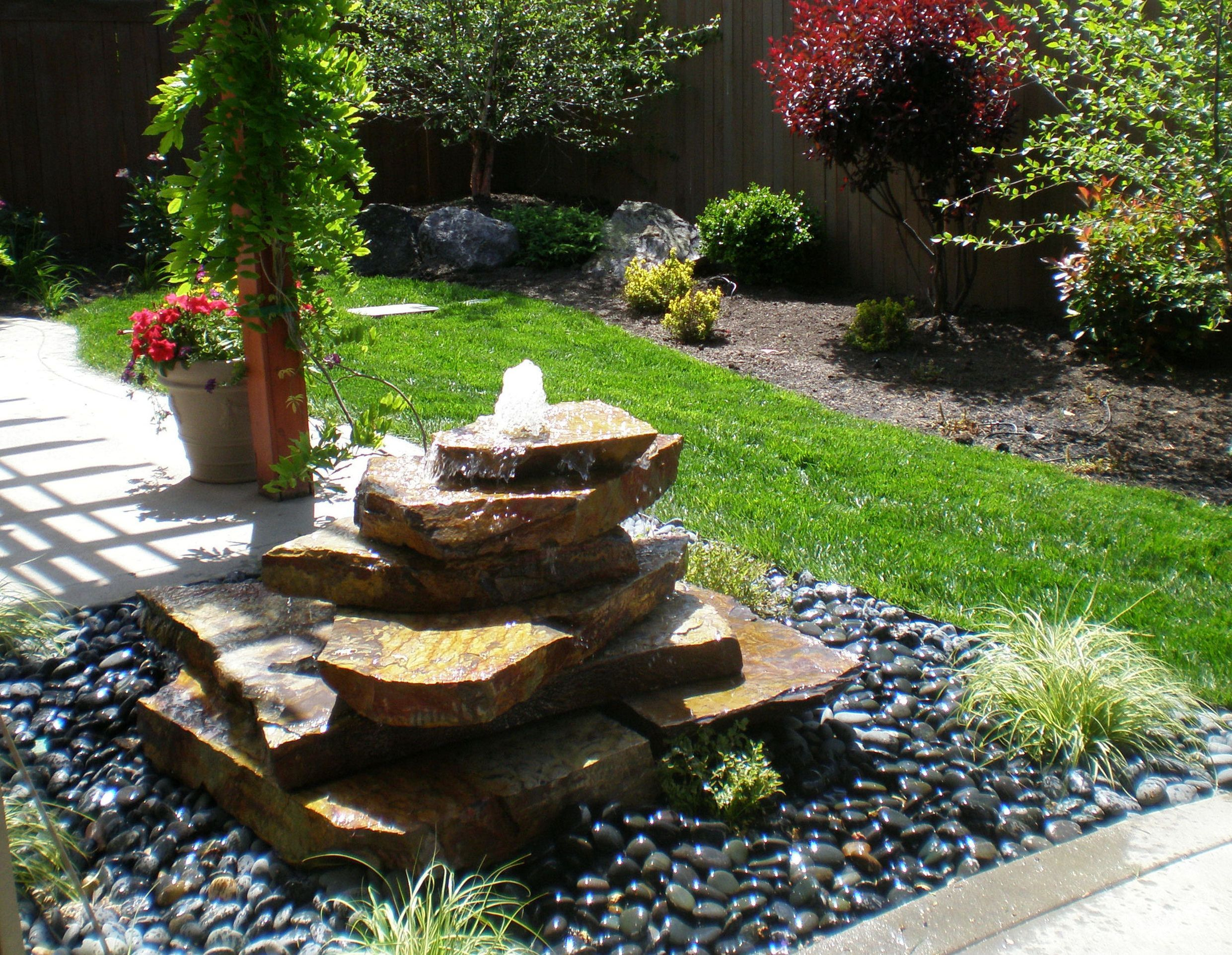 Decoration Adorable Outdoor Water Fountains Design With Natural