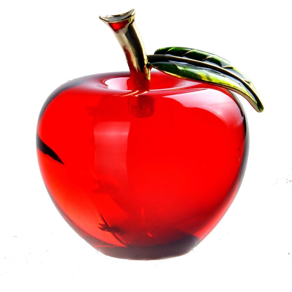 buy 55mm red glossy crystal apple paperweight glass paperweight
