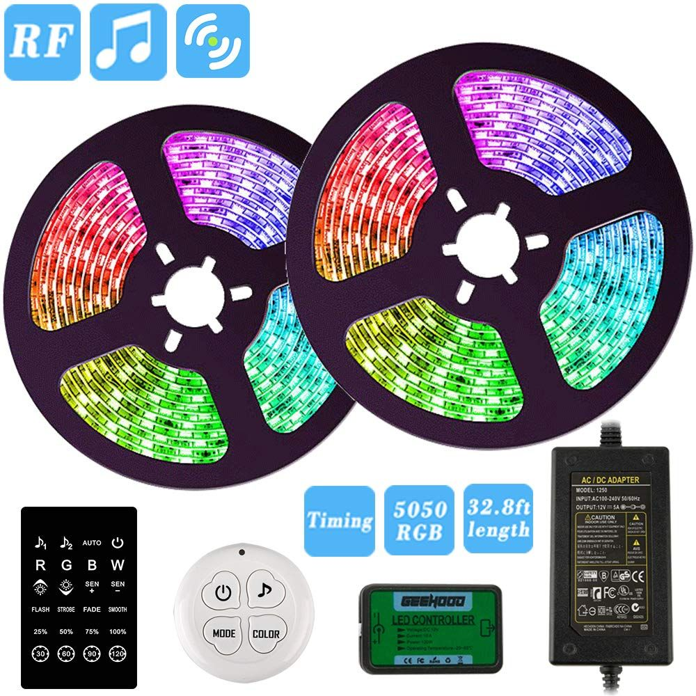Led Strip Lights Geehood 32 8ft Rgb Light Strips Music Sync Color Changing 5050 Rgb Rope Light 300 Le Led Strip Lighting Rgb Led Strip Lights Strip Lighting