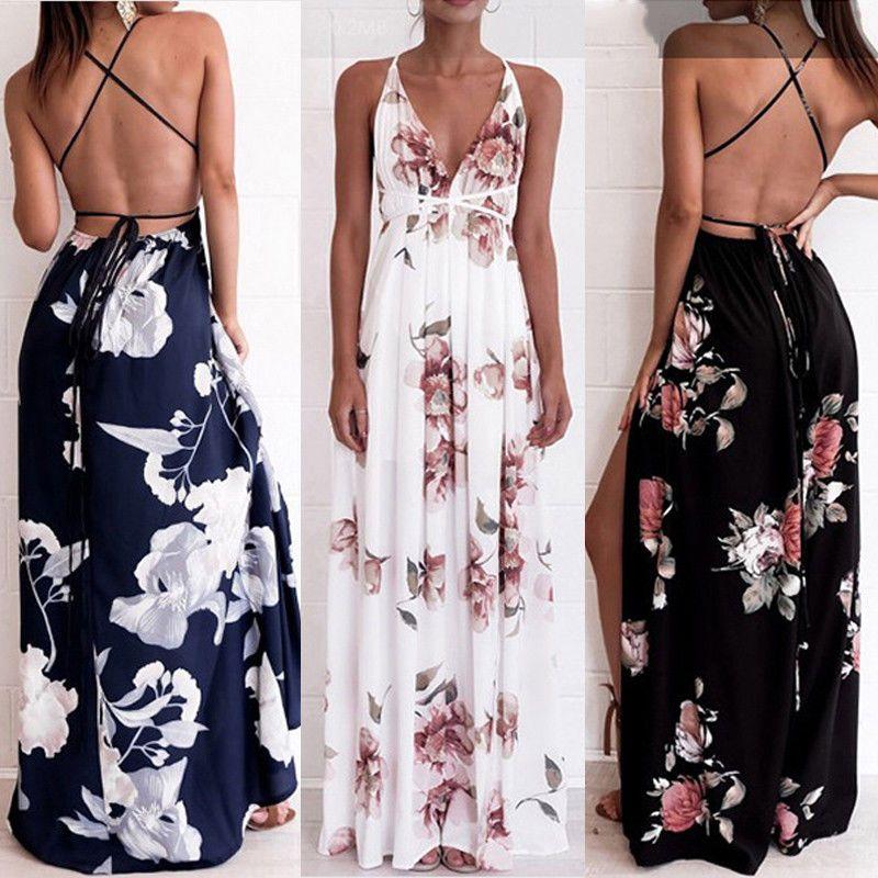 2dd7e2f1f4b01 Verano Mujeres Boho Maxi Floral Con Tiras Vacaciones Playa Solera Vestido  Largo De Fiesta