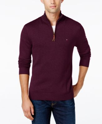TOMMY HILFIGER Tommy Hilfiger Signature Solid Quarter-Zip Sweater . #tommyhilfiger #cloth # sweaters