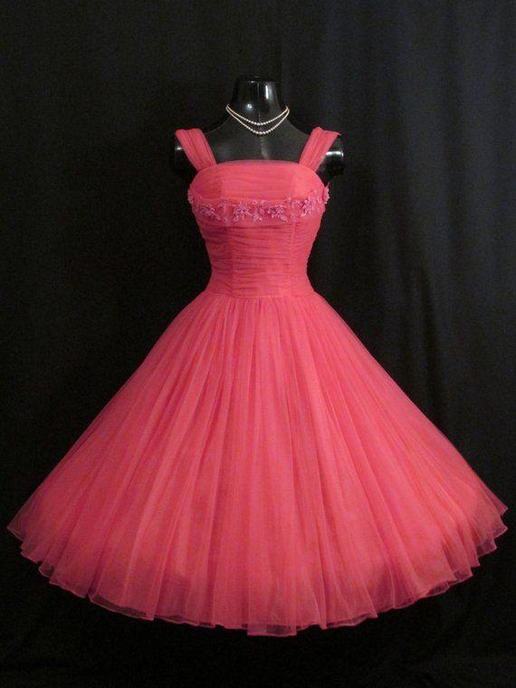 e313f1223b Vintage 50s 1950 s HOT PINK Fuschia Ruched CHIFFON Organza Daisies  Rhinestones Party Prom Wedding Dr