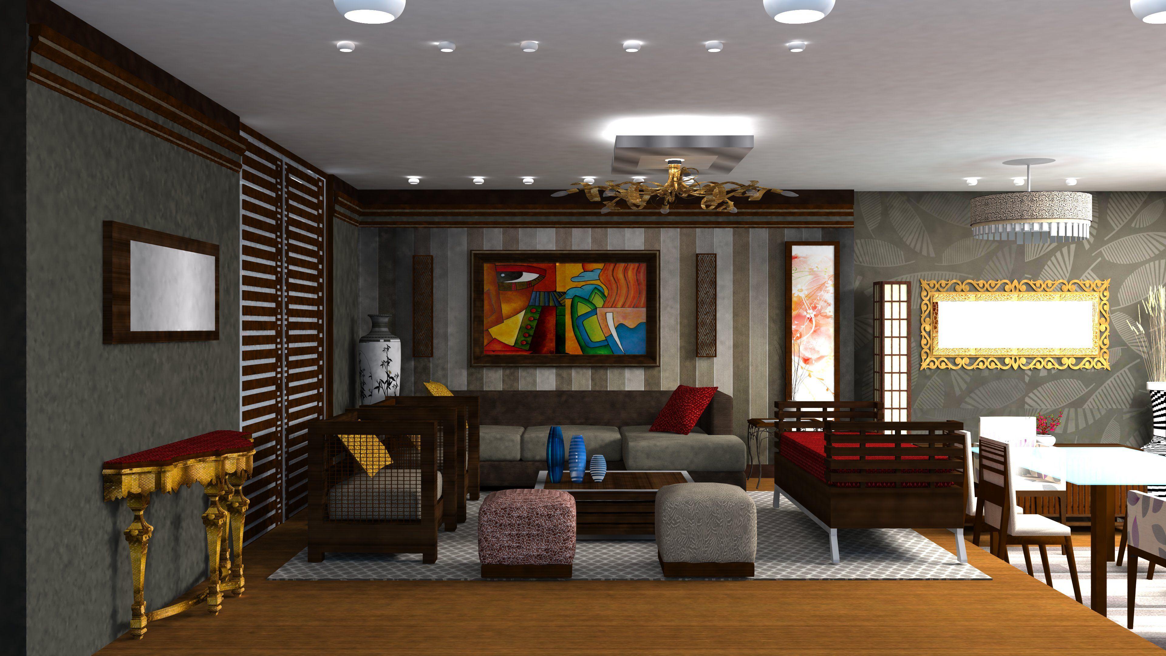 Sala Comedor Moderna Con Juego De Texturas