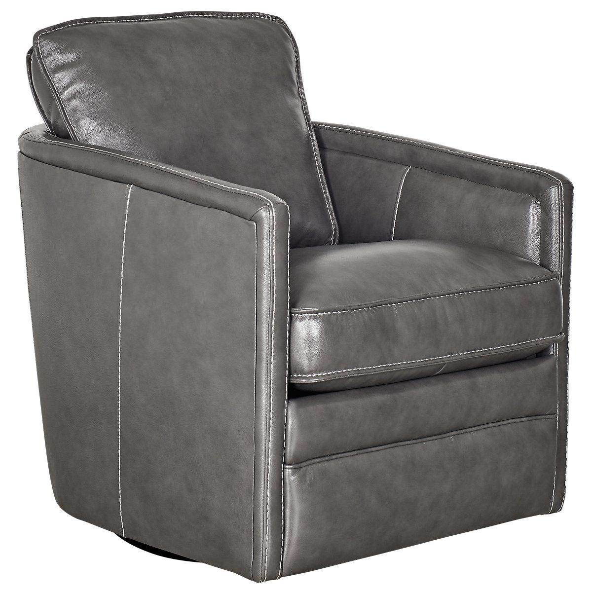 Alexander Gray Leather Swivel Chair (With images