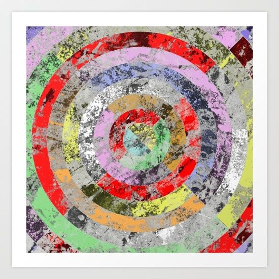 Textured, pastel colour themed artwork.  Unique, original and uses a concentric circles design.