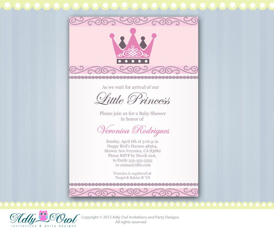 Personalized Little Princess Crown Royal Baby Shower Printable DIY ...