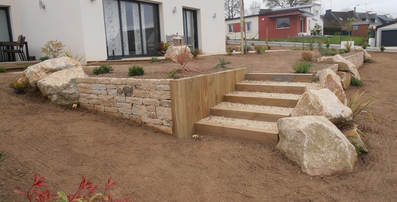 Traverses bois et escalier | jardin | Garden stairs, Front ...