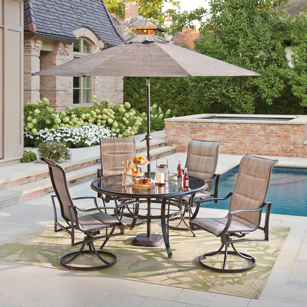 Hampton bay statesville pewter 5 piece aluminum outdoor dining set fca70357ds st 2 the home depot