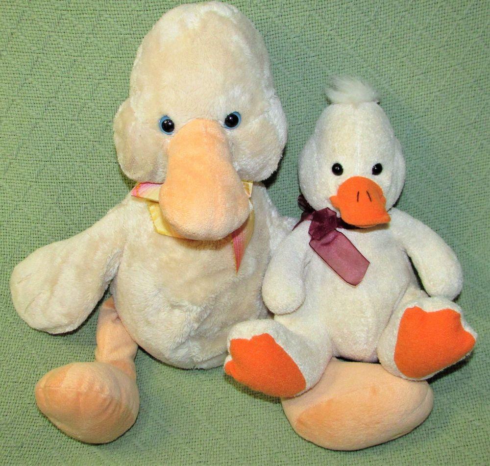 BEAN BAG DUCK Tan Plush Stuffed Animal LOT GALERIE 17