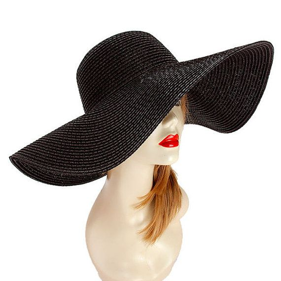 Womens Black Floppy Wide Brim Beach Sun Hat UV Protection Solid Straw Hat  This amazing black wide brim floppy hat has an impressive extra wide 7 8b7d364adc0