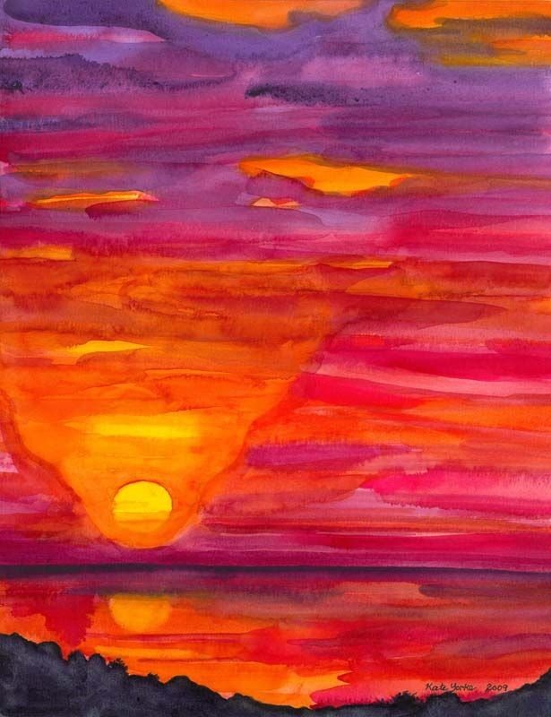 Easy Watercolor Paintings Easy Watercolor Paintings Of Sunsets
