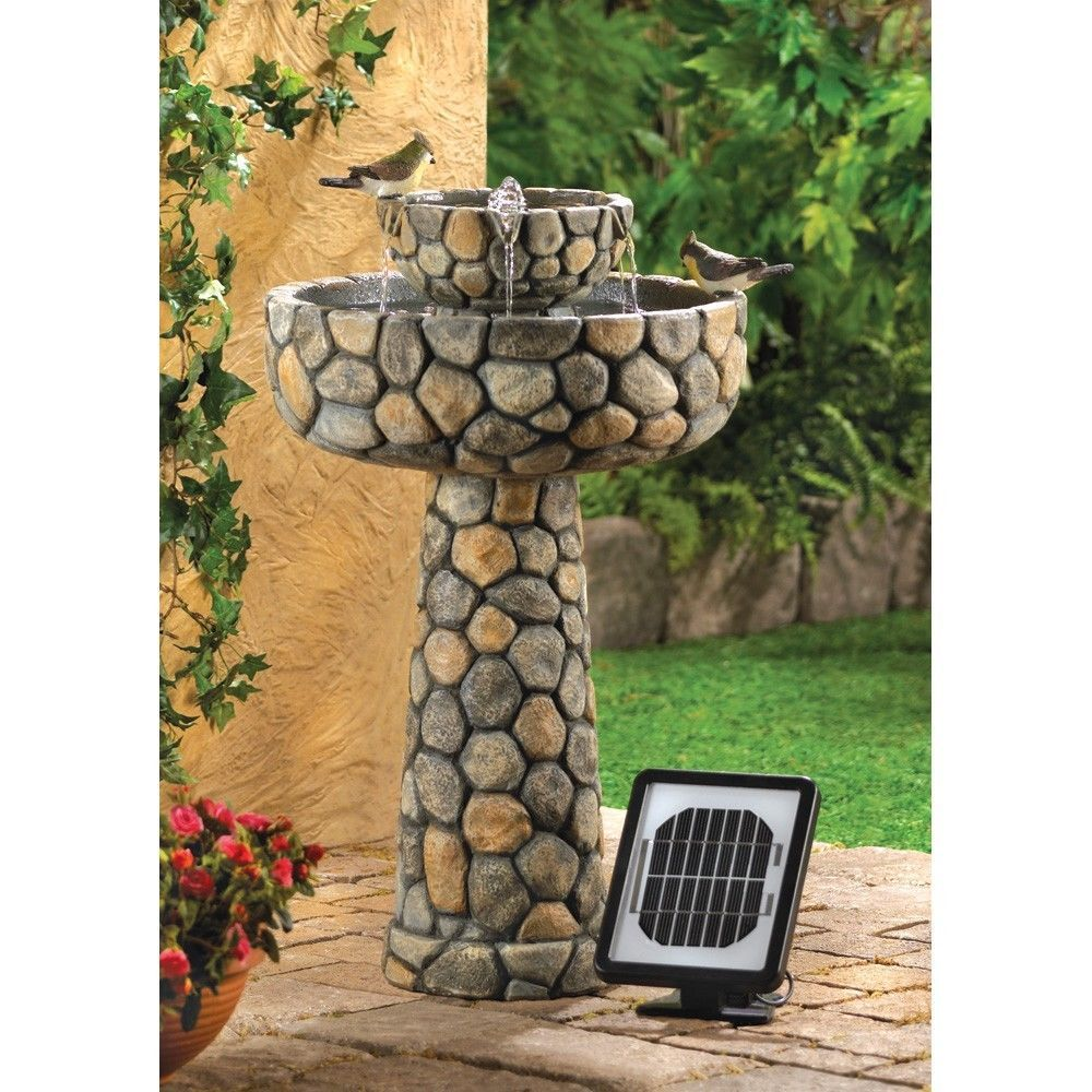 Cascading Solar Water Fountain Rustic Stone Optional Electrical Cord Solar Water Fountains Outdoor Garden Water Fountains Solar Water Fountain